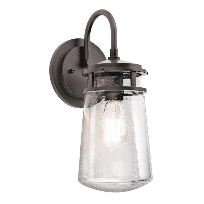 Kichler 49445az 1 light outdoor wall lantern 100 watt 120 volt architectural bronze lyndon