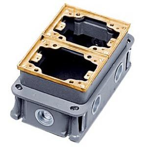 Hubbell Wiring B423341 Cast Iron Box Brass Collar 2 Gang