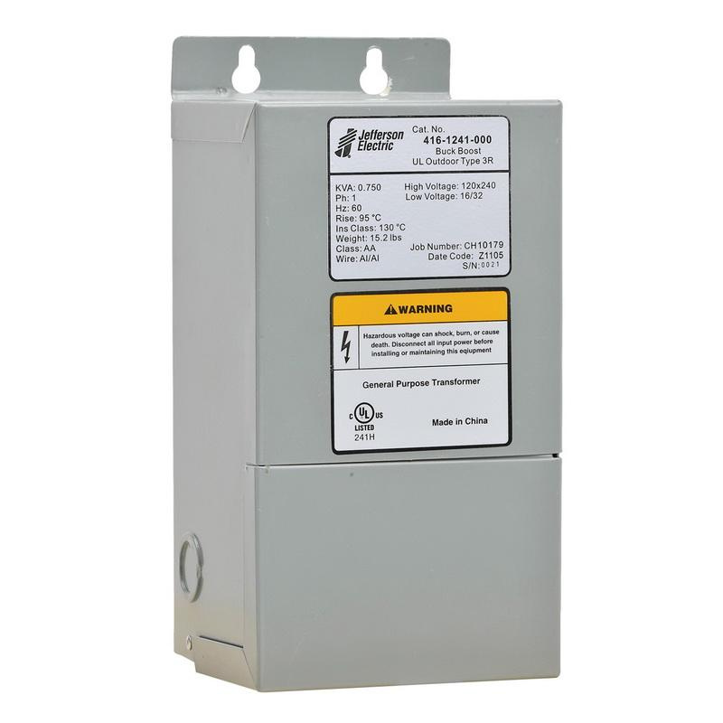 Jefferson Electric 416-1241-000 1-Phase Aluminum/Copper Dry Type Buck-Boost Transformer 120/240 Volt Primary 16/32 Volt Secondary 0.75 KVA Powerformer™