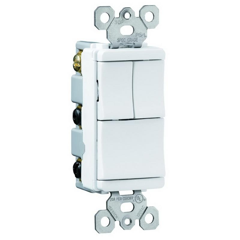 pass & seymour tm8111-wcc 120/277-volt 15-amp (3) 1-pole decorator  combination switch white trademaster� - decorative switches - switches -  wiring devices