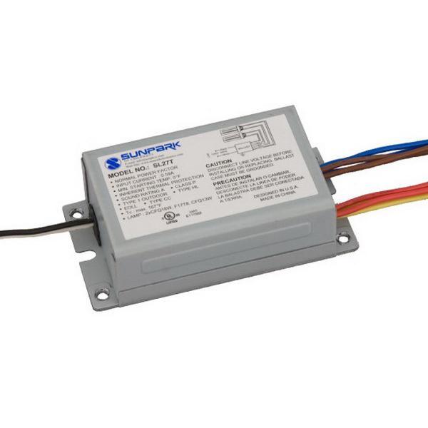 sunpark sl27t (2) cfq13w cfq18w f17t8 f20t12 lamp mid power factor  fluorescent ballast 120