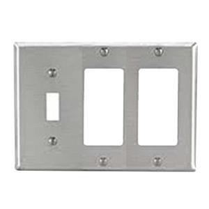 Mulberry 97453 430 Stainless Steel Standard Size GFI Surge 3-Gang Combination Wallplate (1) Toggle Switch (2) Block Duplex/GFI Receptacle