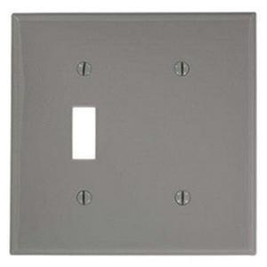 Mulberry 97522 430 Stainless Steel Box Mount Standard Size 2-Gang Combination Wallplate (1) Blank (1) Toggle Switch