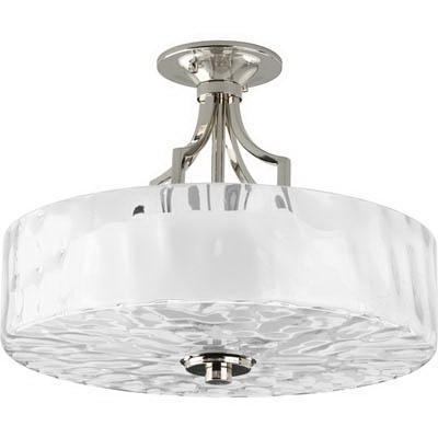 Progress Lighting P3434-104 2-Light Ceiling/Semi-Flush Mount Ceiling Fixture 100 Watt 120 Volt Polished Nickel Caress