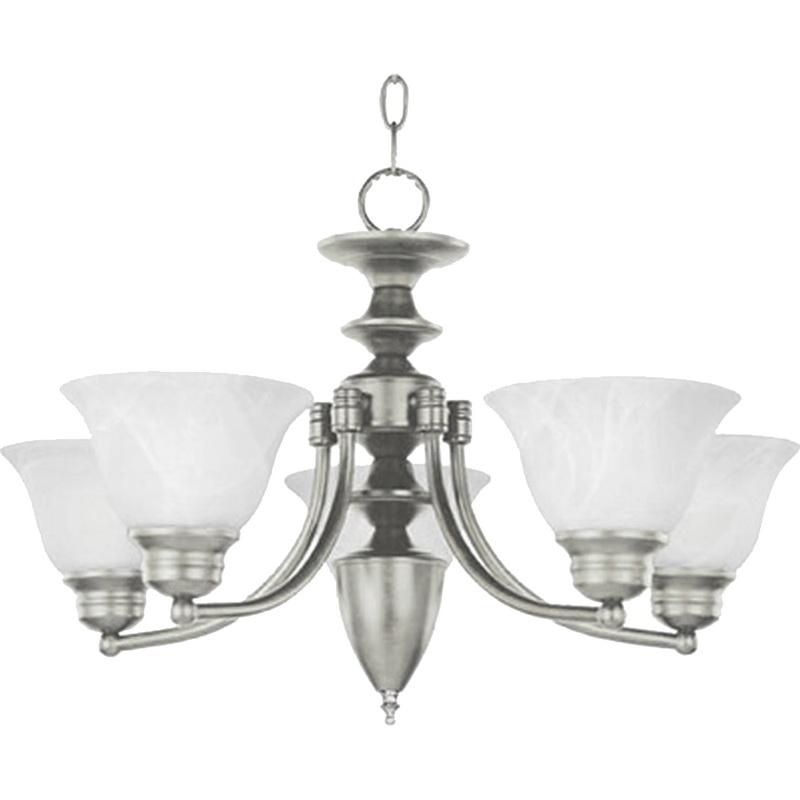 Maxim Lighting 2699MRSN 5-Light Single Tier Chandelier 100 Watt 120 Volt Satin Nickel Malaga