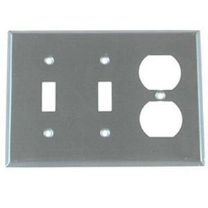 Mulberry 97543 430 Stainless Steel Standard Size 3-Gang Combination Wallplate (1) Duplex Receptacle (2) Toggle Switch