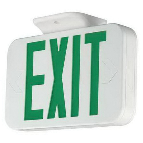 Hubbell Lighting CEG Battery Powered LED Emergency Exit Sign White Housing Green Letter 120/277 Volt AC Compass®