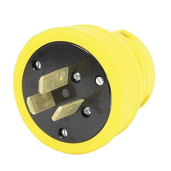 KH Industries P1050DF 3-Wire 3-Pole High Voltage Straight Blade Industrial Grade Re-Wireable Flip Seal Plug 125/250 Volt AC 1-Phase 50 Amp NEMA 10-50P Yellow