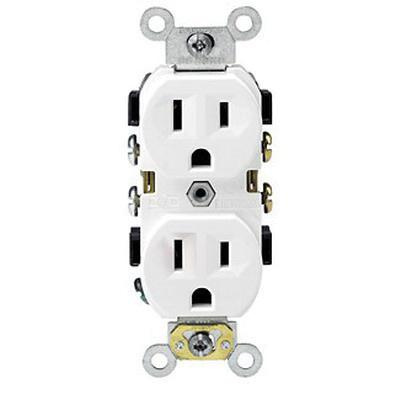 Leviton BR15-W Commercial Grade Tamper-Resistant Narrow Body Heavy-Duty Impact-Resistant Straight Blade Duplex Receptacle 15 Amp 125 Volt NEMA 5-15R White Decora®