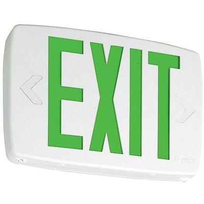 Lithonia Lighting LQM-S-W-3-G-120277-ELNM6 Emergency LQM Series LED Exit Sign White Housing Green Letter 120/277 Volt Quantum®