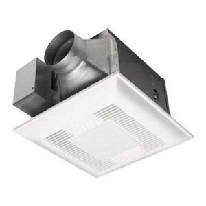Panasonic FV-08VFL4 Ventilation Fan With Light 120 Volt 80 CFM at 0.1 Inch Static Pressure 67 CFM at 0.25 Inch Static Pressure With 4 Inch Duct 70 CFM at 0.1 Inch Static Pressure 60 CFM at 0.25 Inch Static Pressure With 3 Inch Duct WhisperFit™