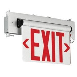 Hubbell Lighting CELR1RNE Emergency CEL Series Single Face LED Edge-Lit Exit Sign Brushed Aluminum Housing Red Letter 120/277 Volt Compass®