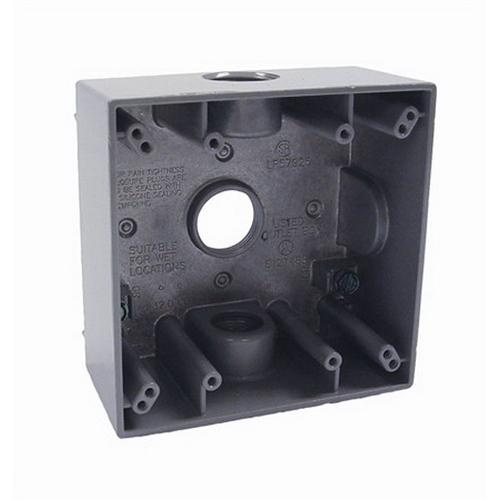 4 4 Weatherproof Electrical Box: Raco 5341-0 Powder Coated Die Cast Aluminum 2-Gang
