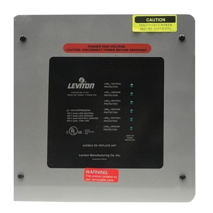 Leviton 47120-7 Powder Coated Steel 3-Phase 7-Mode Surge Protection ...