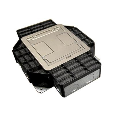 Wiremold RFB4 Steel Multi-Service Above-Grade Four-Compartment Combination Floor Box 12-3/4 Inch x 10 Inch x 3-7/16 Inch 16.4 Cubic-Inch