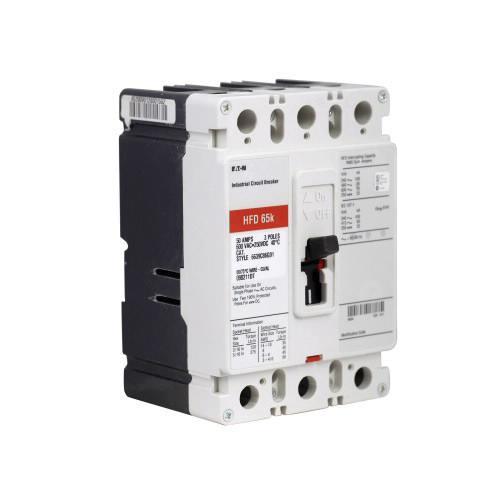 Eaton HFD3015 Panel Mount Type HFD Molded Case Circuit Breaker 3-Pole 15 Amp 600 Volt AC 250 Volt DC