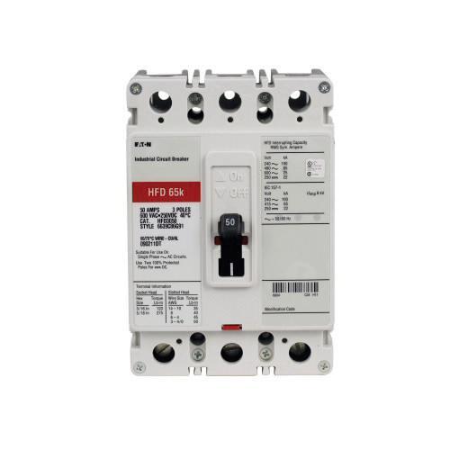Eaton HFD3200 Panel Mount Type HFD Molded Case Circuit Breaker 3-Pole 200 Amp 600 Volt AC 250 Volt DC