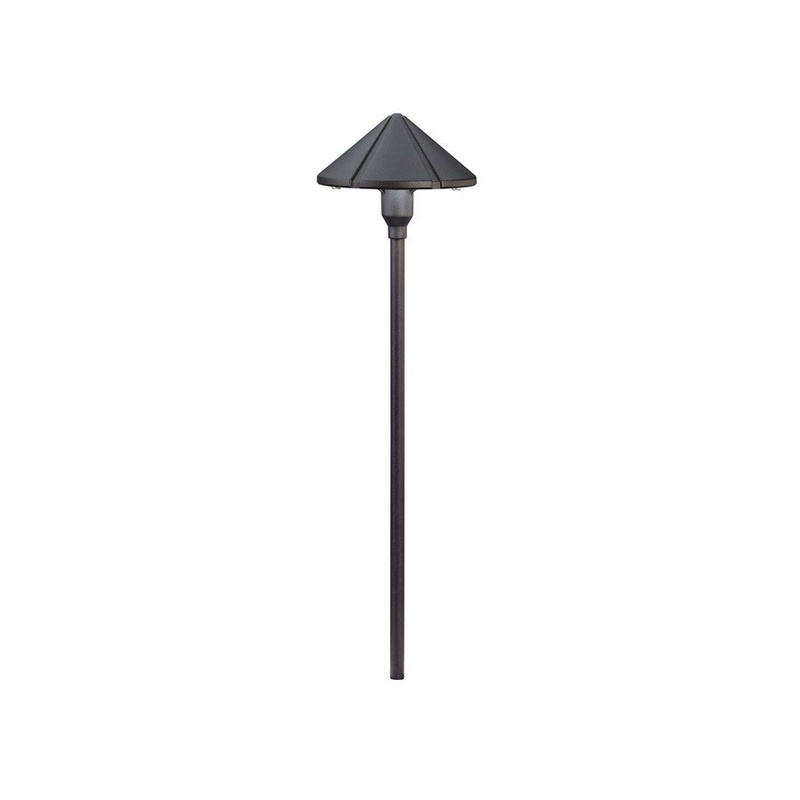 Kichler 15326BKT 1-Light Landscape Path And Spread Light 24.4 Watt 12 Volt Textured Black Six Groove Six Groove
