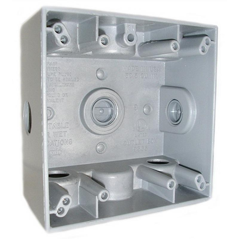 4 4 Weatherproof Electrical Box: Mulberry 30242 Powdered Die Cast Aluminum 2-Gang