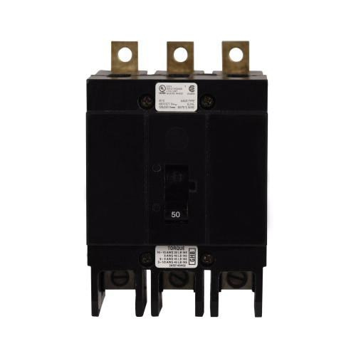 Eaton GHB3050 Bolt-On Mount Type GHB Molded Case Circuit Breaker 3-Pole 50 Amp 277/480 Volt AC 125/250 Volt DC