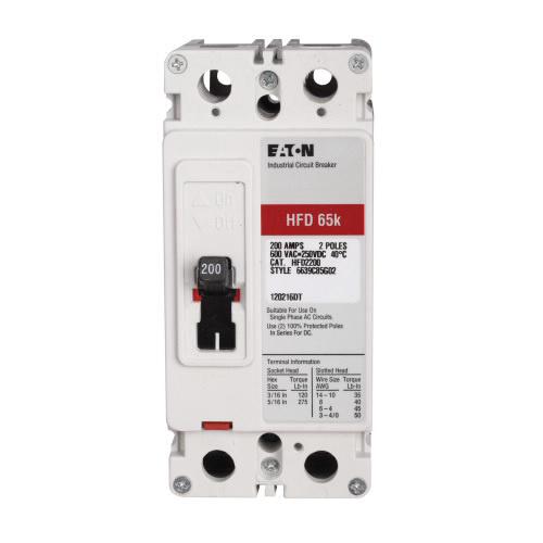 Eaton HFD2100 Molded Case Circuit Breaker 2-Pole 100-Amp 600-Volt AC