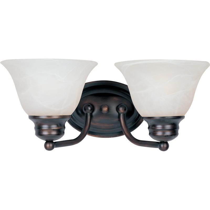 Maxim Lighting 2687MROI 2-Light Classic Up/Down Mount Bath and Vanity Fixture 100 Watt 120 Volt Oil Rubbed Bronze Malaga