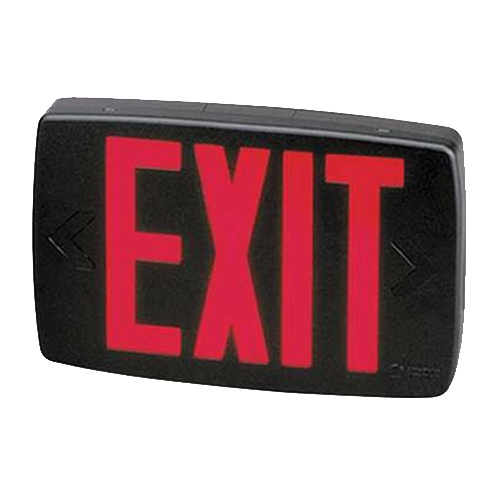 Lithonia Lighting Lqms3r120 277m6 Ac Led Exit Sign Black Housing Red Letter 120 277 Volt 1 2 Battery Quantum