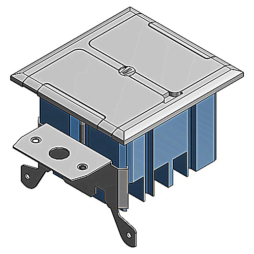 Thomas & Betts B234BFSS Stainless Steel 2-Gang Rectangle Non-Metallic Adjustable Floor Box 5.56 Inch x 4-3/4 Inch Silver Carlon®