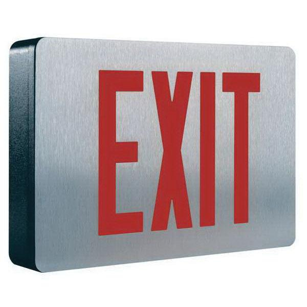 Cooper Lighting CX61 AC CX Series LED Exit Sign Brushed Aluminum Face With Black Housing Red/Green Letter 120/277 Volt Sure-Lites®
