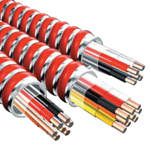 Copper Conductor Steel Armored Twisted Pair (1TSP) Plenum Rated Dual Rated MC/FPLP Control Cable 16/2 250 ft Coil Black/Red Green (Ground) Fire
