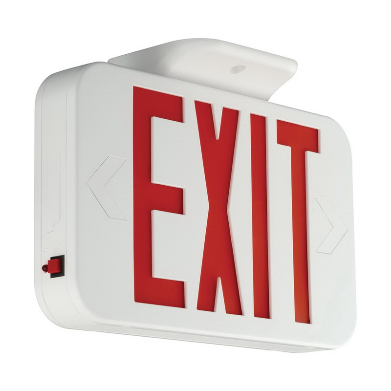 Hubbell Lighting CERRC CE Series Remote Capacity Emergency LED Exit Sign White Housing Red Letter 120/277 Volt AC