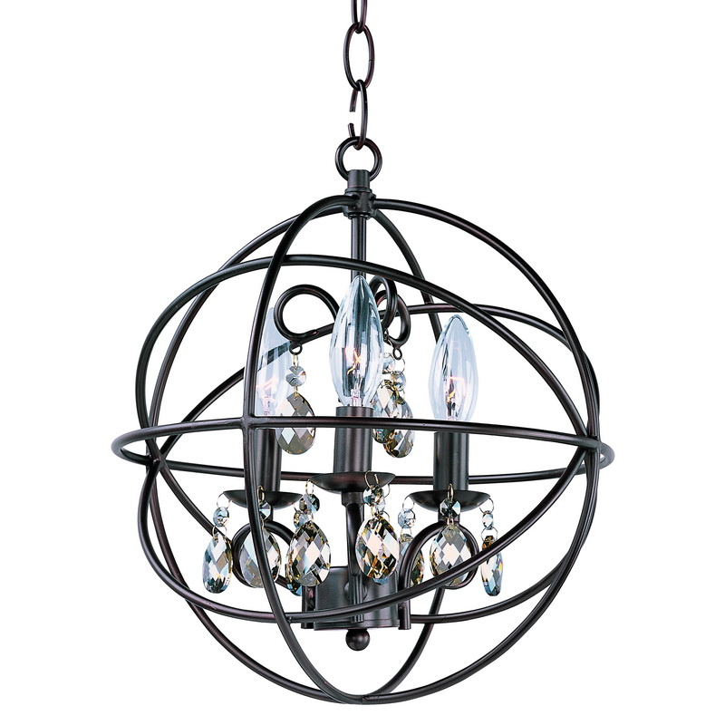 Maxim Lighting 25140OI 3-Light Single Tier Single Pendant Fixture 60 Watt 120 Volt Oil Rubbed Bronze Orbit