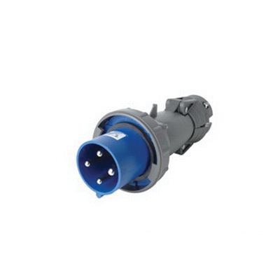 Pass & Seymour PS460P9-W 4 Wire 3 Pole Watertight IEC Pin and Sleeve Plug 250 Volt 60 Amp Blue