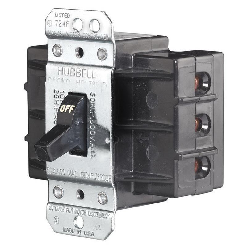Hubbell-Wiring HBL7863D 3-Pole AC Manual Motor Controller 600 Volt AC 60 Amp Circuit-Lock®
