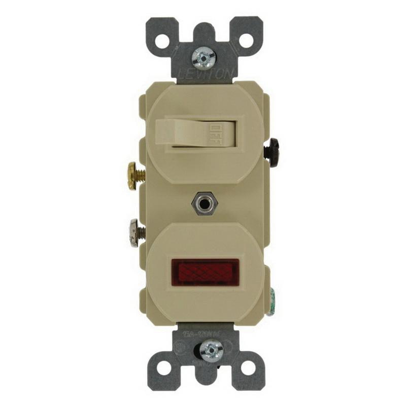 Leviton 5336-I 1-Pole Duplex AC Combination Switch With Neon Pilot Light 120/277 Volt 20 Amp NEMA 5-20R Ivory