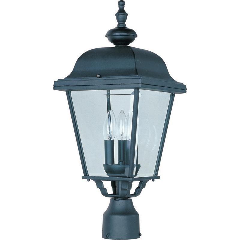 Maxim Lighting 3008BK 3-Light Outdoor Pole/Post Lantern 60 Watt 120 Volt Black Builder Cast