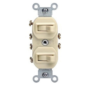 Leviton 5243-T 120/277-Volt AC 15-Amp (2) 3-Way Commercial Grade  Traditional Duplex AC Combination Switch Device Light Almond