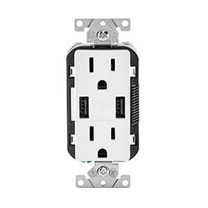 Leviton T5632-W Residential Grade Tamper-Resistant Combination Decorator Straight Blade Duplex Receptacle/Outlet and USB Charger 15 Amp 125 Volt NEMA 5-15R White Decora®