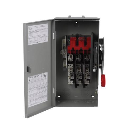 Eaton DH322FRK 3 Wire 3 Pole Fusible K Series Heavy-Duty Safety Switch 240 Volt AC 60 Amp NEMA 3R