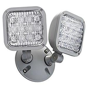Lithonia Lighting ELA-LED-T-WP-M12 Ceiling/Wall/Box Mount Contractor Select Adjustable Weatherproof 2-Head LED Double Remote Lamp 1 Watt 9.6 Volt DC Gray