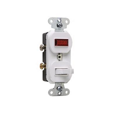 Pass & Seymour 692-WG 1-Pole Duplex AC Combination Switch With Neon Pilot 120/125 Volt AC 15 Amp White