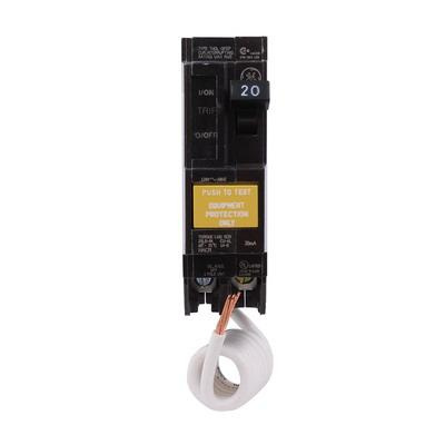 GE Industrial THQL1120GFEP Plug-In Mount Type THQL Equipment Protection Ground Fault Circuit Breaker 1-Pole 20 Amp 120 Volt AC