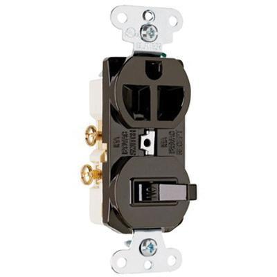 Pass & Seymour 691 1-Pole Duplex Combination Receptacle/Switch Device 120/125 Volt 15 Amp NEMA 5-15R Brown