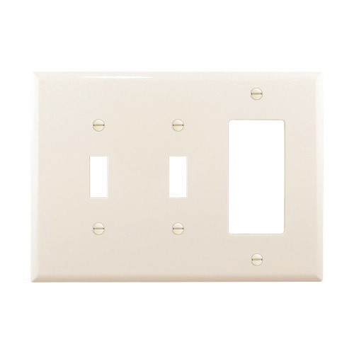 Cooper Wiring Device Pj226la Polycarbonate Screw Mount 3 Gang Midi Size Combination Wallplate 1 Decorator 2 Toggle Switch Light Almond Arrow Hart Combination Wall Plates Wall Switch Plates Wiring Devices