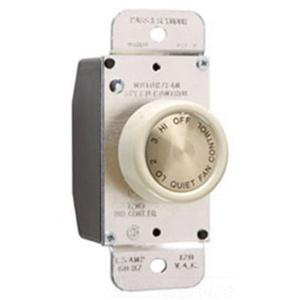 Pass & Seymour 94215-LAV 120 Volt 1.5 Amp 4-Speed Dual Control Residential Grade 2-Level Rotary Fan Speed Control Light Almond VisionPak™
