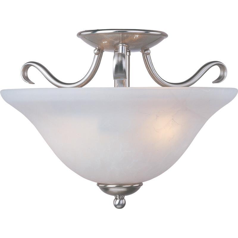 Maxim Lighting 10120ICSN 2-Light Semi Flush Mount Ceiling Fixture 100 Watt 120 Volt Satin Nickel Basix