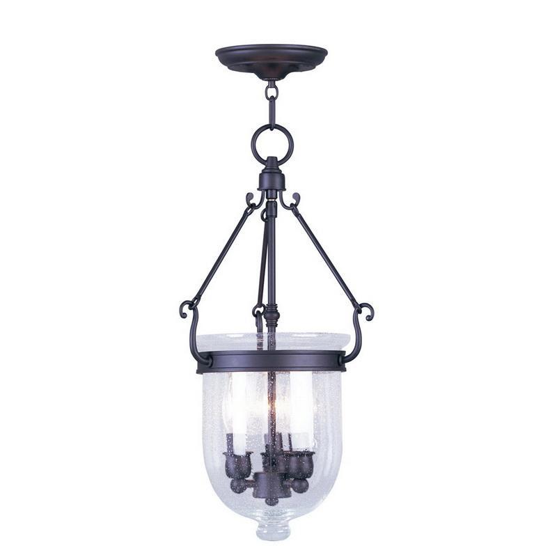 Livex Lighting 5083-07 3-Light Ceiling Mount Pendant Fixture 60 Watt Bronze Jefferson