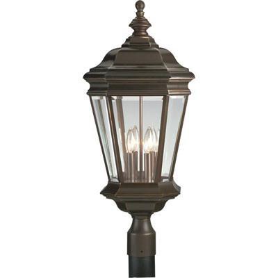 Progress Lighting P5474-108 4-Light Post Lantern 60 Watt 120 Volt Oil Rubbed Bronze Painted Crawford