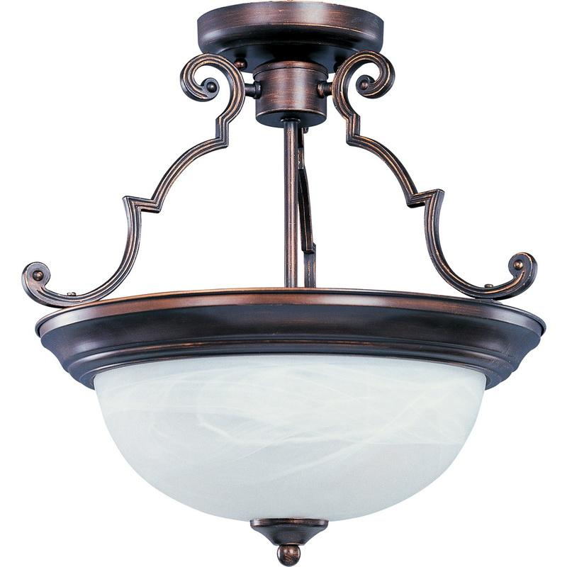 Maxim Lighting 5843MROI 2-Light Semi Flush Mount Ceiling Fixture 100 Watt 120 Volt Oil Rubbed Bronze Essentials - 584x