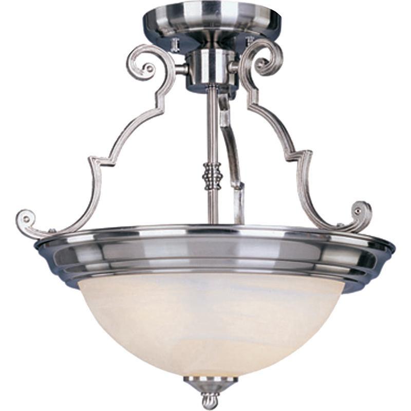 Maxim Lighting 5843MRSN 2-Light Semi Flush Mount Ceiling Fixture 100 Watt 120 Volt Satin Nickel Essentials - 584x